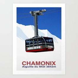 Chamonix Ski Resort , Aiguile du Midi Cable Car Art Print
