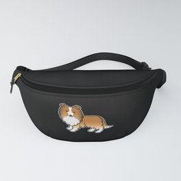 Sable Shetland Sheepdog Dog Cartoon Illustration Fanny Pack
