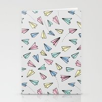 airplanes Stationery Cards featuring Paper Planes in Pastel by Tangerine-Tane