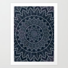 Blue Textured Lace Mandala Art Print