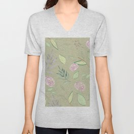 Simple and stylized flowers 6 Unisex V-Neck