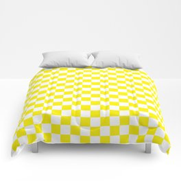 Yellow Checkerboard Pattern Comforters