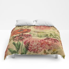 Vintage bohemian floral bird cage collage Comforters