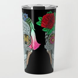 Lady Skull ready to party Travel Mug