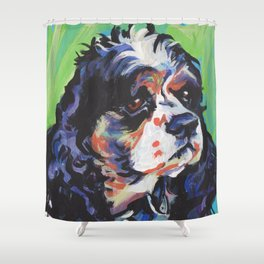 fun American Cocker Spaniel bright colorful Pop Art painting by Lea Shower Curtain