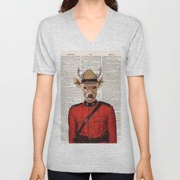 Royal Canadian Mounted Deer, Royal Canadian Mounted Police, Deer, page book art print, Wall art Unisex V-Neck