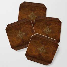 Antique Steampunk Compass Rose & Map Coaster