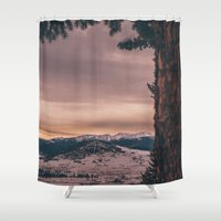 montana Shower Curtains featuring Montana Mornings by Kenna Allison