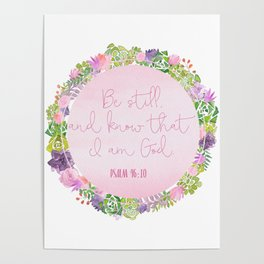 Be Still - Christian Quote Typography Poster