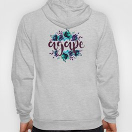 Agape - Christian Watercolor Floral Bible Verse Quote Hoody