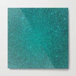 Apatite Teal Sparkling Jewels Pattern Metal Print