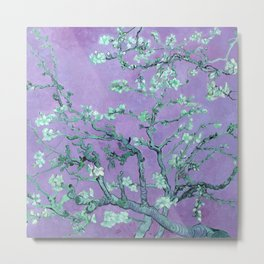 """Van Gogh's """"Almond blossoms"""" with purple background Metal Print"""