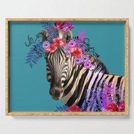 Zebra Flower Fantasy Artwork - Hibiscus Monstera Leaves Serving Tray
