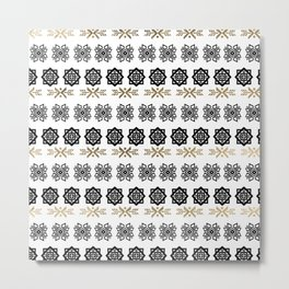 Black white faux gold watercolor hand painted scandinavian Metal Print