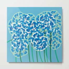 Floral Fun 8 Green and Blue Metal Print