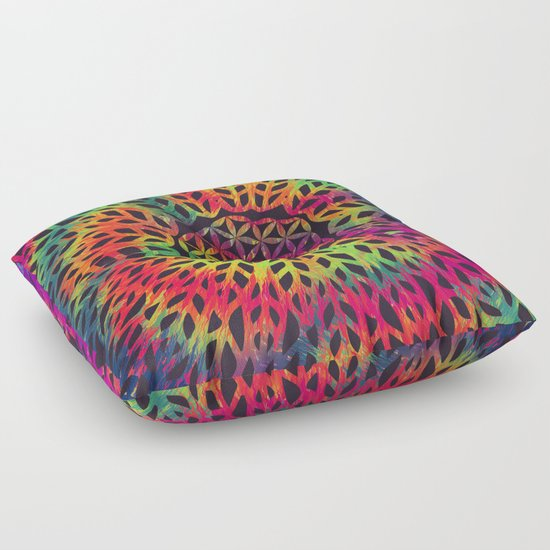 Hippie Floor Pillows : Flower Of Life (Neon Hippie) Floor Pillow by Patterns Of Life Society6
