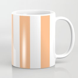 Very light tangelo - solid color - white vertical lines pattern Coffee Mug