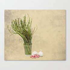 Wild Asparagus and Garlic  Canvas Print