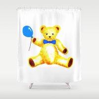 teddy bear Shower Curtains featuring Teddy Bear by Artisimo (Keith Bond)