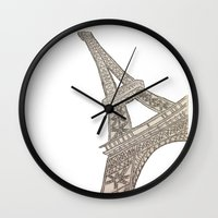 eiffel tower Wall Clocks featuring Eiffel Tower  by Elyse Notarianni