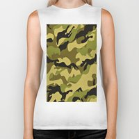 camouflage Biker Tanks featuring CAMOUFLAGE by I Love Decor