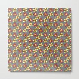 Geometric Groovy Floral Metal Print