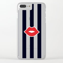Red Lips with Stripes Clear iPhone Case