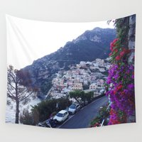 italy Wall Tapestries featuring Positano, Italy by Camila Mariel
