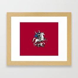 Flag of moscow Framed Art Print