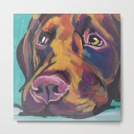 Fun Chocolate Lab Dog bright colorful Pop Art Labrador Metal Print