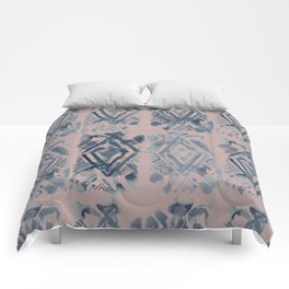 Simply Ikat Ink in Indigo Blue on Clay Pink Comforters