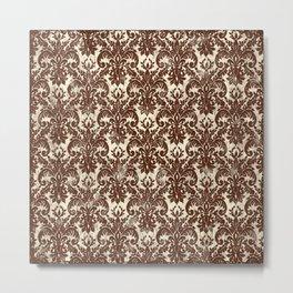 Dark Chocolate Damask Line Work Fleur de Lis Pattern Artwork Metal Print