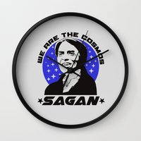 carl sagan Wall Clocks featuring Carl Sagan we are the cosmos v2 by Buby87