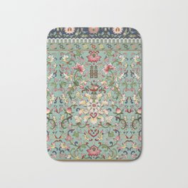 Asian Floral Pattern in Turquoise Blue Antique Illustration Bath Mat