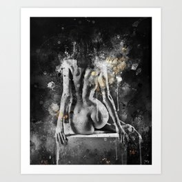 abstract watercolor nude figure painting Art Print