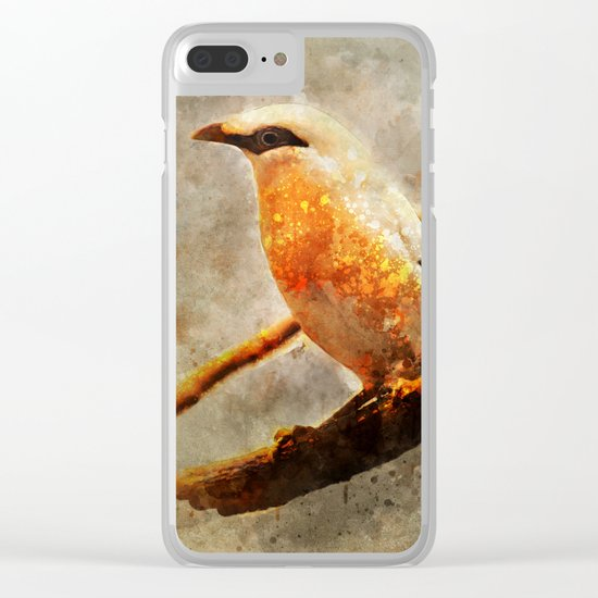 Orange and white bird on the branch Clear iPhone Case