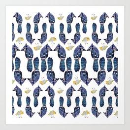 Robin and the blue Birds Art Print