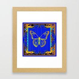 Lapis Blue & Gold Monarch Western Art design Framed Art Print