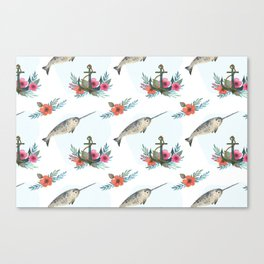 Summertime Nautical Narwhal Canvas Print