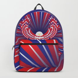 Blue red and white bald eagle Backpack