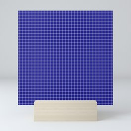 Classic Small Navy Blue Tartan Check Check Pattern Mini Art Print