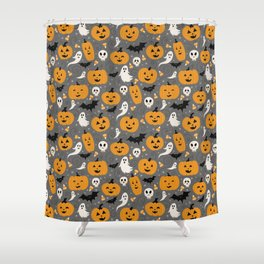 Pumpkin Party in Gray Shower Curtain