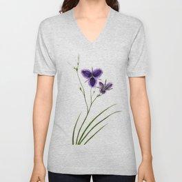 Vintage Wildflower Purple Unisex V-Neck