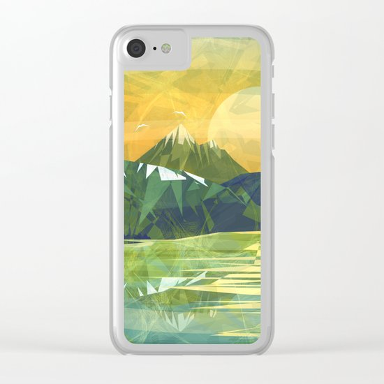 Mountains and Sunset over the lake Clear iPhone Case