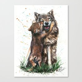 Wolf - Father and Son Canvas Print