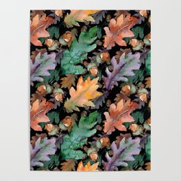 Colorful Woodland Watercolor Oak And Acorn Pattern Poster