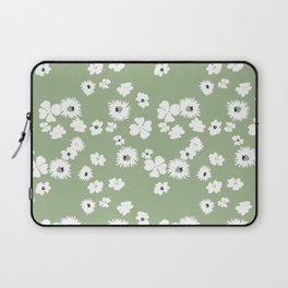 Modern floral on dusty green ground Laptop Sleeve