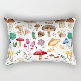 Watercolor forest mushroom illustration and plants Rectangular Pillow