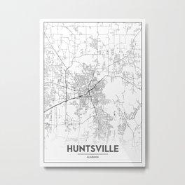 Minimal City Maps - Map Of Huntsville, Alabama, United States Metal Print