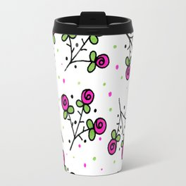 Rose Sprig Pattern Travel Mug
